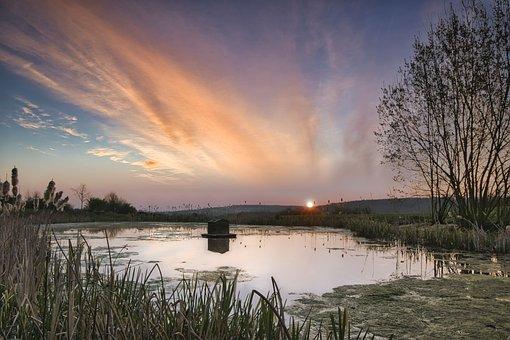 Sunrise, Meadow, Lake, Cottage, Hut, Sun, Sunlight