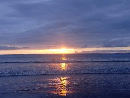 Sunset Beach, Sea, Sunrise, Sky, Nature, Landscape