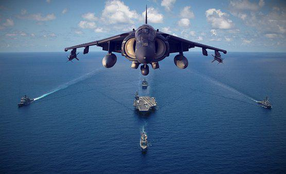Jet, Ships, Sea, Flying, Ocean, Military, Aircraft