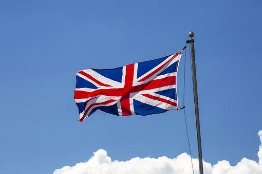 Flag, Blue Sky, Union Jack, Uk Flag, Flag Raising
