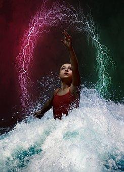 Fantasy, Girl, Water, Lightning, Kid, Child, Splash