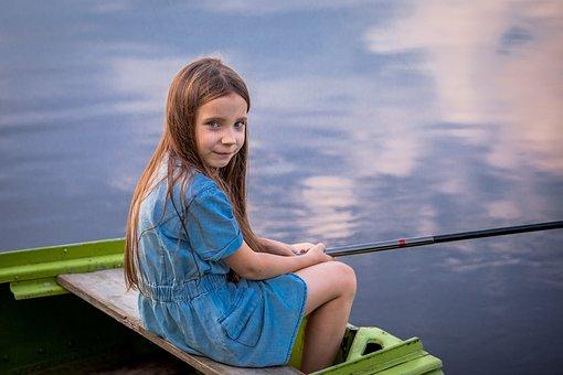 Fishing, Girl, Lake, Child, Kid, Summer, Water, Rod