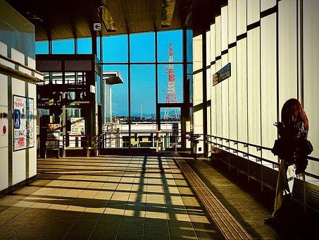 Station, Woman, Japan, Girl, Lady, Waiting, Urban, City
