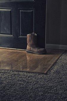 Boot, Door, Floor, Carpet, Wood, Reflection, House