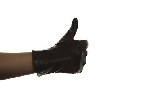 Glove, Black, Thumbs Up, Hand, Fingers, Leather