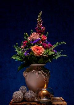 Flowers, Vase, Candle, Decoration, Bouquet, Bloom