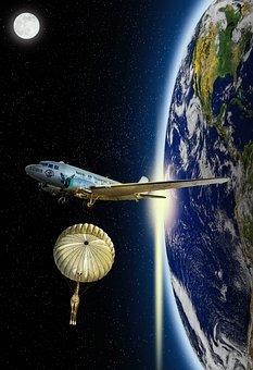 Earth, Aircraft, Parachute, Giraffe, Full Moon, Stars