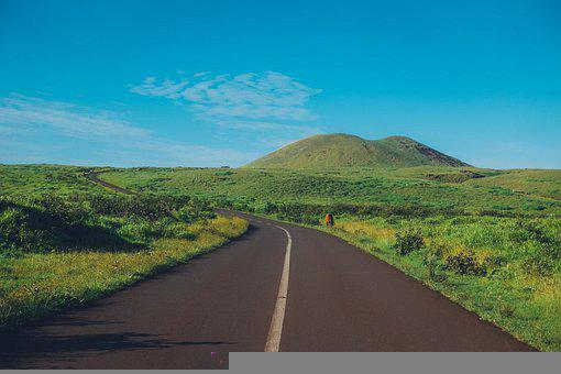 Chile, Easter Island, Road, Mountains, Grass