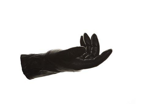 Glove, Black, Reaching Out, Hand, Fingers, Leather