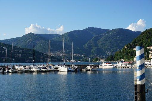 Boats, Lake, Mountains, Port, Pier, Como, Italy