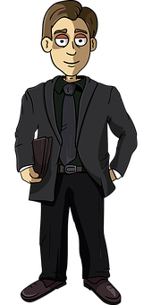 Businessman, Man, Suit, Portfolio, Necktie