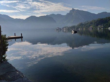 Lake, Alpine, Austria, Mirroring, Mountains, Nature