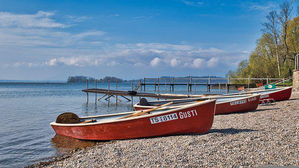 Bank, Beach, Rowing Boats, Dock, Shore, Boardwalk
