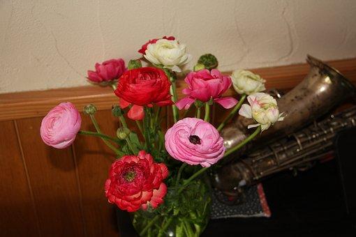 Buttercups, Flowers, Bouquet, Vase, Flower Vase