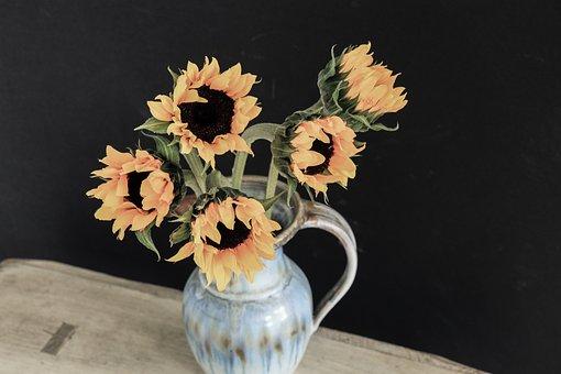Sunflowers, Vase, Flowers, Floral Arrangement