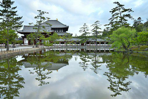 Temple, Pond, Trees, Water, Water Reflection