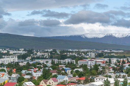Akureyri, Town, Mountains, Panorama, Iceland, Buildings