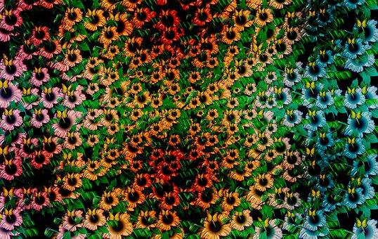 Flowers, Pattern, Background, Floral, Butterflies