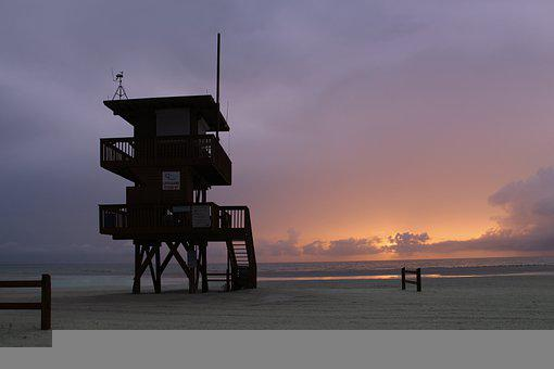 Lifeguard Tower, Beach, Sunset, Sea, Ocean, Coast