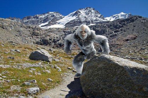 Yeti, Trail, Mountains, Glaciers, Alps, Bigfoot