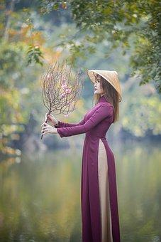 Ao Dai, Fashion, Woman, Vietnamese, Branch, Flowers