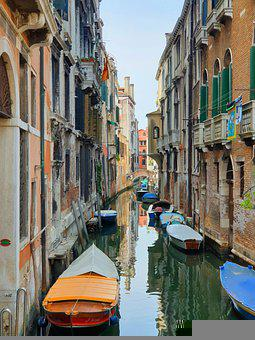 Canal, Boats, Venice, Buildings, Town, Reflection