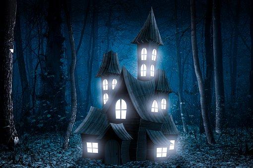 Trees, Glow, Haunted House, Illuminated, Forest, Woods