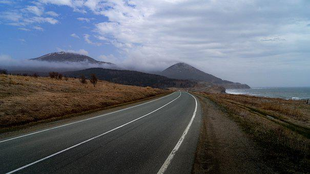 Road, Sea, Island, Curved Road, Empty Road, Landscape
