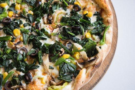 Pizza, Spinach, Flour, Slice, Italian, Gourmet, Cafe
