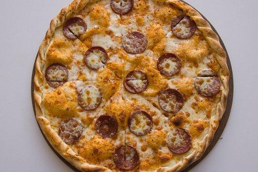 Pizza, Cheese, Sausage, Meat, Ham, Italian, Slice