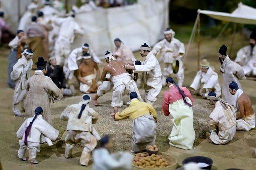 Ssireum, Korean Wrestling, Miniature, Doll, Figure