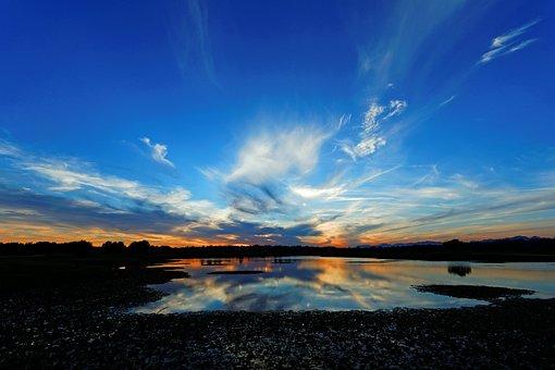 Sunset, Lake, Sky, Water, Clouds, Horizon, Dusk