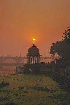 Sunset, Gazebo, Couple, Silhouette, Lake, River, Sun