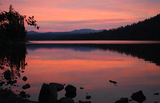 Sunset, Lake, Mountains, Silhouette, Little Cultus Lake