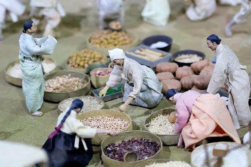 Market, Traditional, Miniature, Korea, Doll, Figure