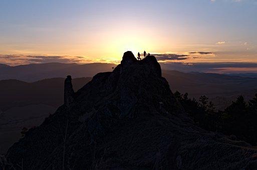 Sunset, Mountain, Peak, Silhouette, Hiking, Trekking