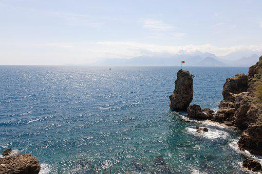 Sea, Coast, Cliff, Waves, Ocean, Water, Horizon, Sky
