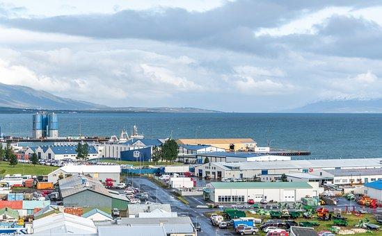 Akureyri, Town, Sea, Panorama, Iceland, Ocean, Coast