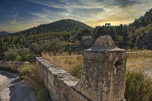 Muro, Paisaje, Atardecer, Landscape, Wall, Fortress