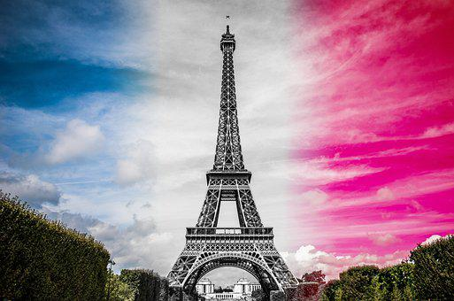 Eiffel Tower, Landmark, Paris, France, Flag Of France