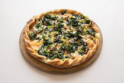 Pizza, Spinach, Vegetable, Italian, Slice, Gourmet
