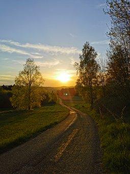 Sunset, Road, Rural, Sun, Sunlight, Sky, Clouds, Path