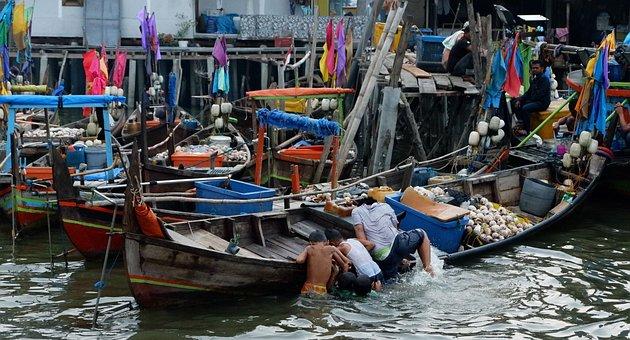 Fishing Boats, Kids, Water, Play, Playing, Boats