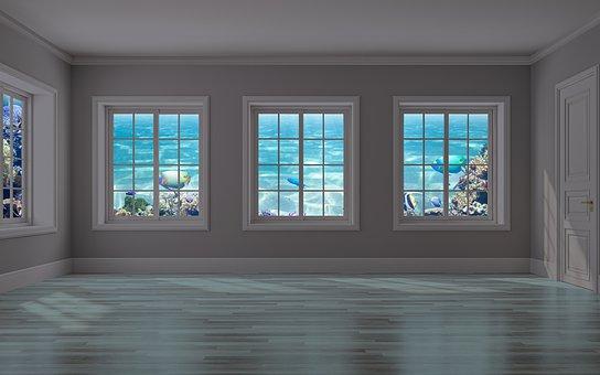 Room, Empty, Windows, Sea View, Water, Underwater
