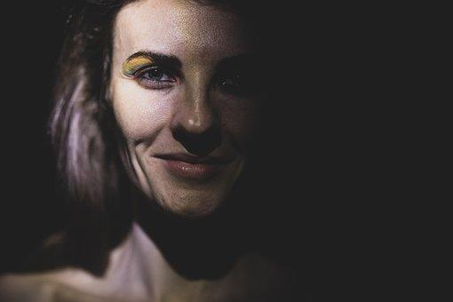 Woman, Light, Portrait, Dark, Face, Head