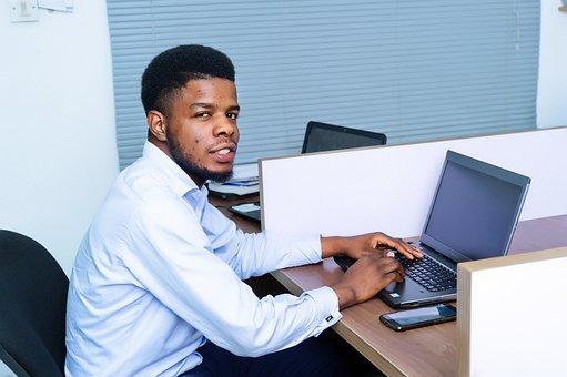 Office, Man, Work, Desk, Laptop, Employee, Table