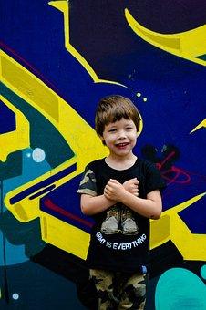 Boy, Toddler, Model, Child, Style, Wall, Graffiti