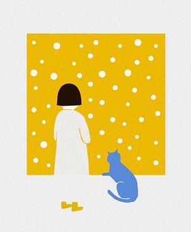 Yellow Wall, Cat, Girl, Pet, Animal, Mammal, Sitting