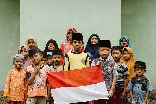 Children, Indonesia, Flag, Moslem, Childcare, Childhood