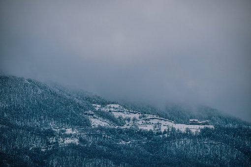 Winter, Forest, Mountain, Fog, Clouds